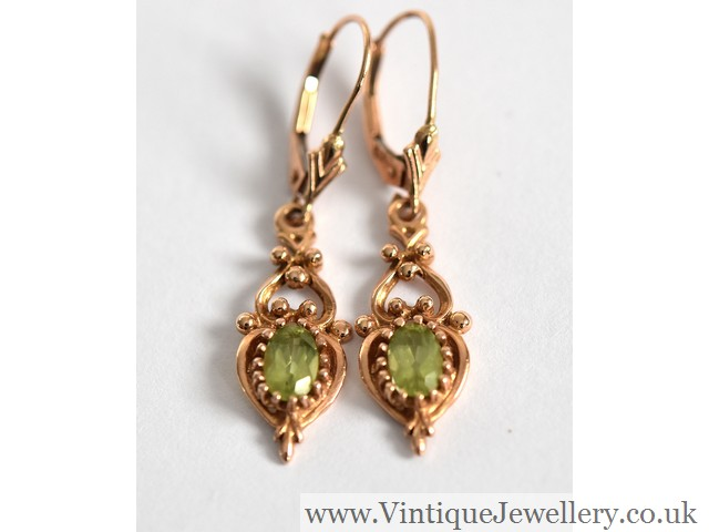 01bcec562 Fine pair of 14ct rose gold peridot Art Nouveau design drop earrings -