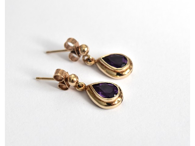 08dece0b6 Fine pair of 9ct gold amethyst tear drop stud earrings -