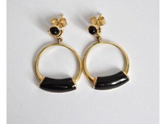 b9a2567b5 Pair of 18ct gold open disc black onyx cabochon earrings