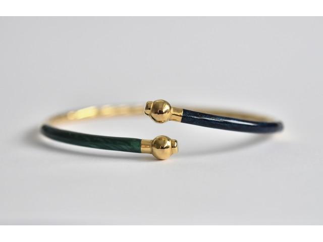 318637a5e36 Fine 9ct gold blue and green enamel twist bangle bracelet -