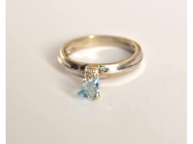 df31d597c1525 Fine 9ct white gold blue topaz & diamond accent charm stacking ring